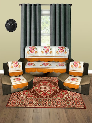 5 Seater Floral Sofa Cover Set -10 Pieces - 15018906 - Standard Image - 1