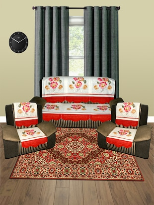 5 Seater Floral Sofa Cover Set -10 Pieces - 15018907 - Standard Image - 1