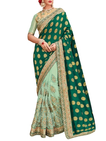 green half & half embroidered silk saree with blouse - 15019116 - Standard Image - 1