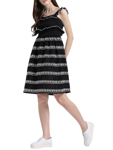 black cotton a-line dress - 15019190 - Standard Image - 1