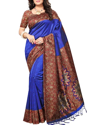 Contrast bordered printed saree with blouse - 15019233 - Standard Image - 1