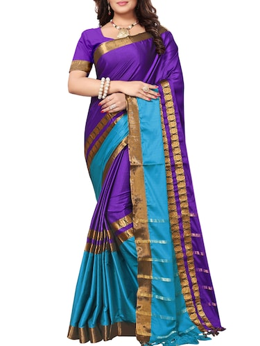 Contrast bordered saree with blouse - 15019239 - Standard Image - 1