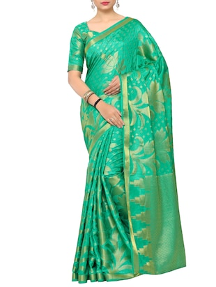 green art silk kanjivaram saree with blouse - 15019299 - Standard Image - 1
