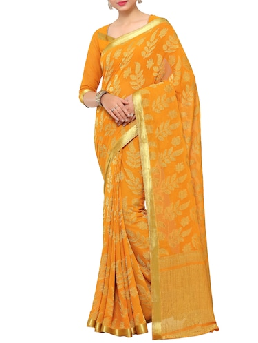 orange chiffon woven saree with blouse - 15019316 - Standard Image - 1