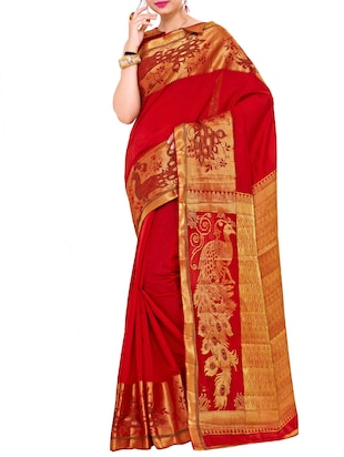 red art silk woven saree with blouse - 15019323 - Standard Image - 1