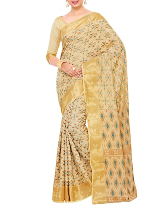 beige art silk woven saree with blouse - 15019328 - Standard Image - 1