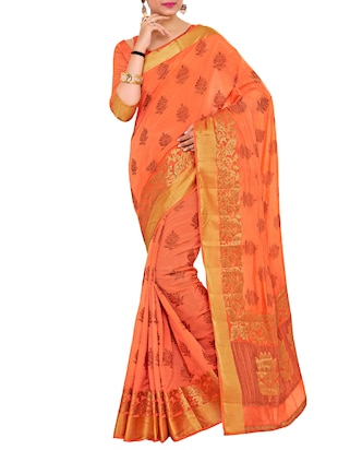peach art silk woven saree with blouse - 15019337 - Standard Image - 1