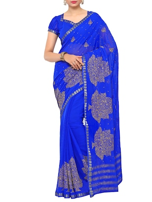 zari embroidered blue saree with blouse - 15019347 - Standard Image - 1