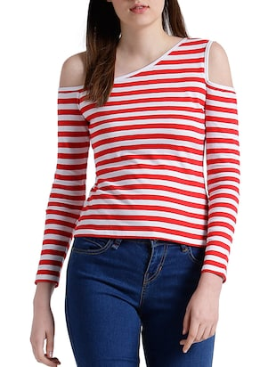 red cotton striped single cold shoulder top - 15019695 - Standard Image - 1