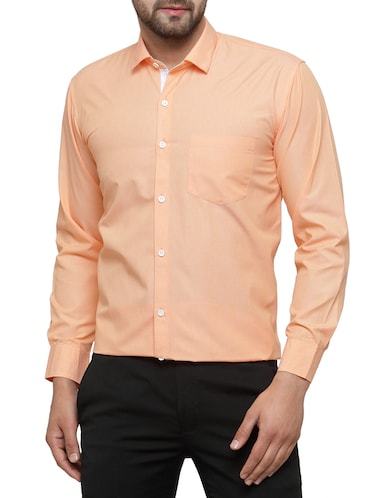orange cotton formal shirt - 15019707 - Standard Image - 1