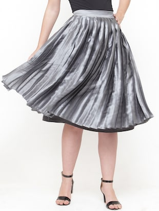 silver solid pleated skirt - 15019750 - Standard Image - 1