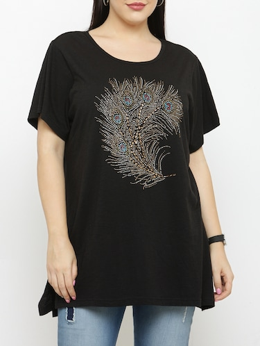 black cotton plus tee - 15019784 - Standard Image - 1
