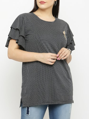 black printed plus top - 15019813 - Standard Image - 1