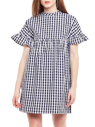 blue checkered cotton shift dress - 15020098 - Standard Image - 1