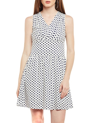 white polka doted fit & flare dress - 15020101 - Standard Image - 1