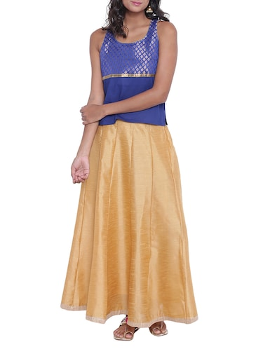 Brocade yoke design kurti with skirt set - 15020347 - Standard Image - 1
