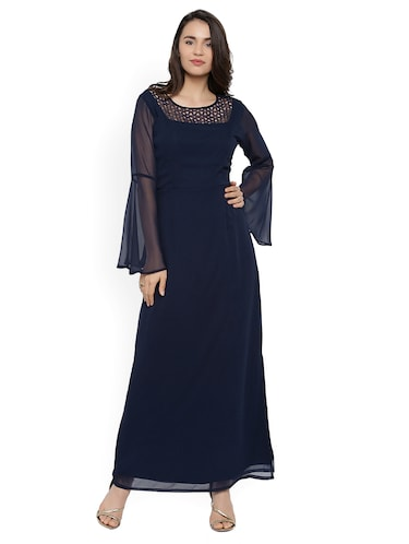 navy blue solid maxi dress - 15020358 - Standard Image - 1