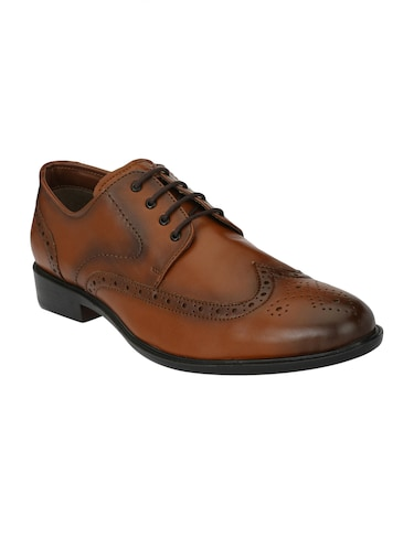 tan Leatherette lace-up derby - 15020391 - Standard Image - 1