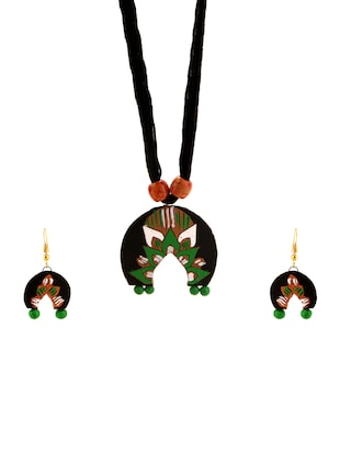 multi colored wood necklaces and earrings - 15020912 - Standard Image - 1