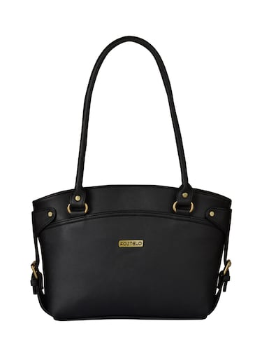 black leatherette  regular handbag - 15021105 - Standard Image - 1