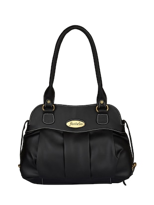 black leatherette  regular handbag - 15021123 - Standard Image - 1