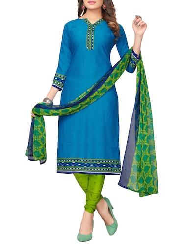 blue churidaar suit unstitched suit - 15021209 - Standard Image - 1
