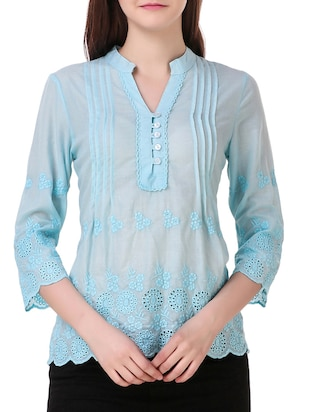 solid light blue embroidered top - 15021225 - Standard Image - 1