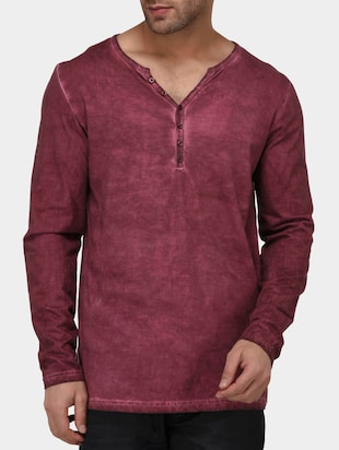 maroon cotton washed tshirt - 15021287 - Standard Image - 1