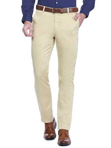 beige cotton flat front formal trouser - 15021307 - Standard Image - 1