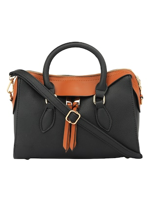 black leatherette  regular handbag - 15021670 - Standard Image - 1