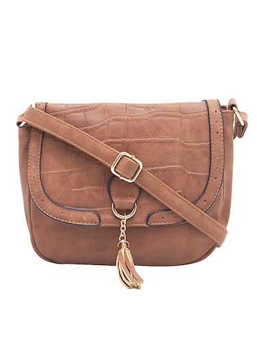 brown leatherette regular sling bag - 15021686 - Standard Image - 1