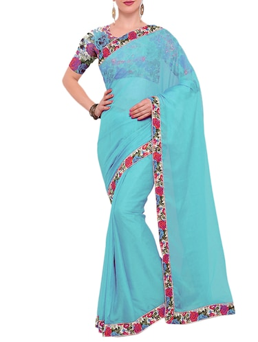 sky blue georgette bordered saree with blouse - 15021760 - Standard Image - 1