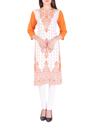 orange cotton straight kurta - 15021833 - Standard Image - 1