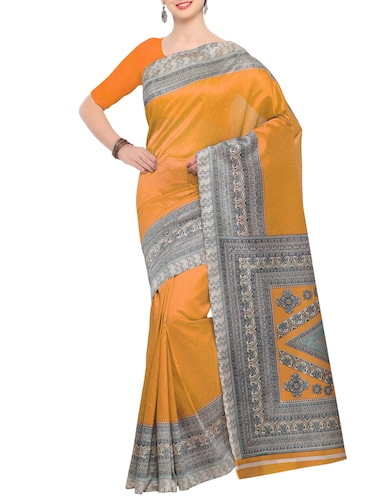 yellow raw silk printed saree with blouse - 15022692 - Standard Image - 1