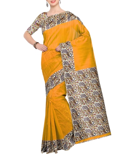 yellow raw silk printed saree with blouse - 15022710 - Standard Image - 1