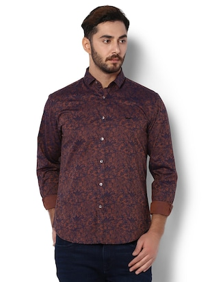 brown cotton casual shirt - 15022722 - Standard Image - 1