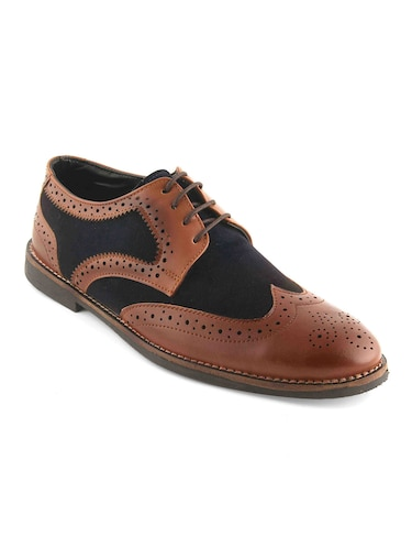 tan Leatherette lace-up derby - 15022924 - Standard Image - 1