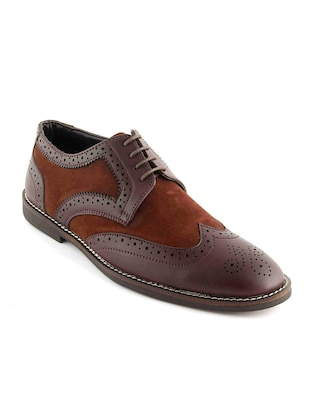 brown Leatherette lace-up derby - 15022925 - Standard Image - 1