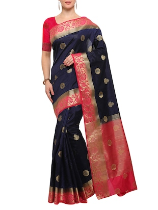 blue banarasi silk saree with blouse - 15023165 - Standard Image - 1