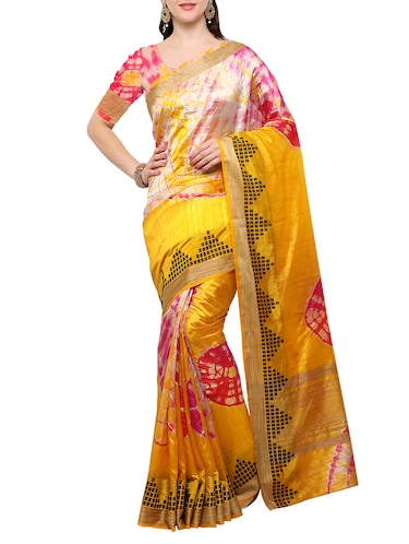 mustard silk blend tie & dye saree with blouse - 15023172 - Standard Image - 1