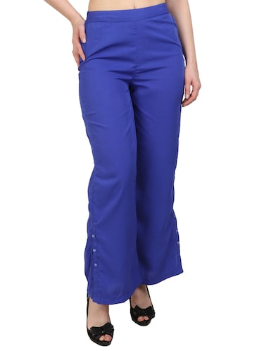 blue crepe palazzos - 15023438 - Standard Image - 1