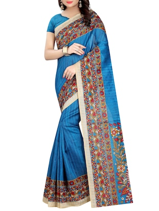 blue cotton printed saree with blouse - 15023464 - Standard Image - 1