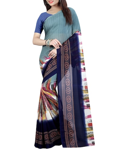 blue georgette printed saree with blouse - 15023472 - Standard Image - 1