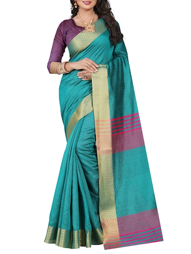 turquoise cotton blend woven saree with blouse - 15023483 - Standard Image - 1