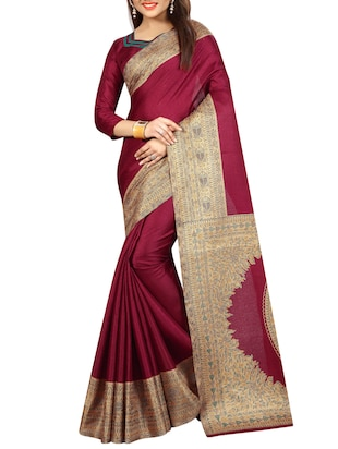 pink cotton printed saree with blouse - 15023492 - Standard Image - 1