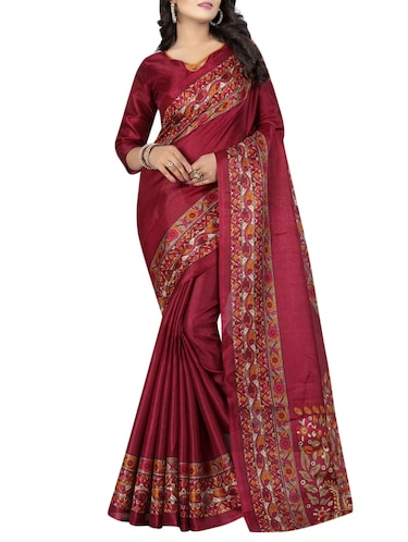 pink cotton printed saree with blouse - 15023495 - Standard Image - 1
