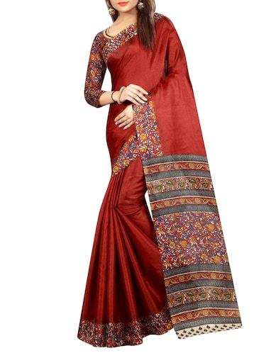 red cotton printed saree with blouse - 15023501 - Standard Image - 1