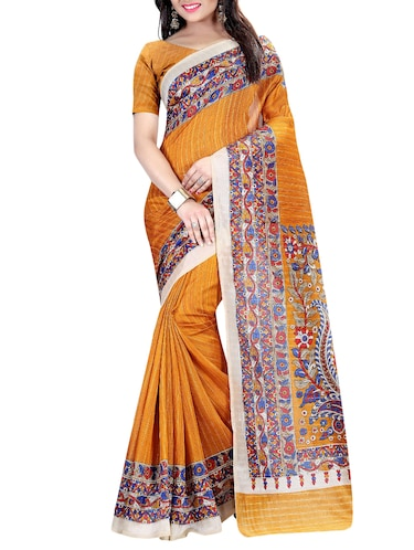 yellow cotton silk printed saree with blouse - 15023515 - Standard Image - 1
