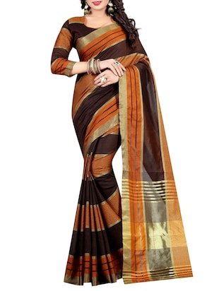 brown cotton woven saree with blouse - 15023555 - Standard Image - 1