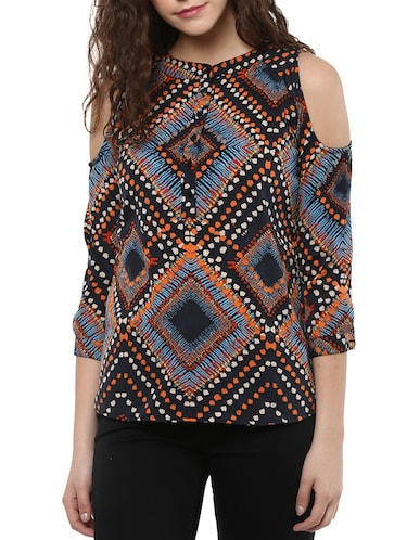 black printed crepe regular top - 15023603 - Standard Image - 1
